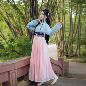 Pink & Blue Chinese Style Female HanFu / TangZhuang Size L/M Costume For Rent | RentSmart Asia | Renting Is The New Buying
