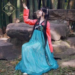 Blue & Red Chinese Style Female HanFu / TangZhuang Size L/XL Costume For Rent | RentSmart Asia | Renting Is The New Buying