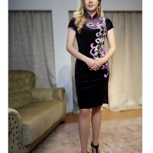 Purple Velvet Cheongsam (L size) | Cultural Dresses | RentSmart Asia | Renting Is The New Buying