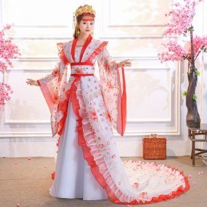 Chinese Costume Red White Tail Dress Queen Dynasty HanFu For Rent | Cultural Dresses | RentSmart Asia | Renting Is The New Buying