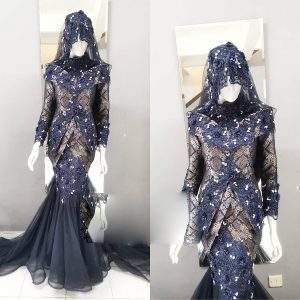 Dress Songket Blue Black | Wedding Gowns | RentSmart Asia | Renting Is The New Buying