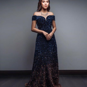 Sequin Blue Gown For Rent
