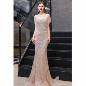 Silver Beading Mermaid Dress For Rent