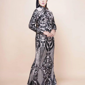 Black Lace Cream Dress For Rent