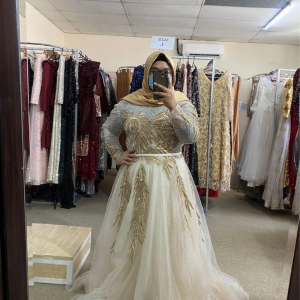 Sequin Gold White Dress For Rent