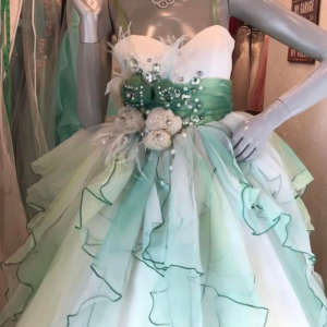 White Dark Green Gown For Rent
