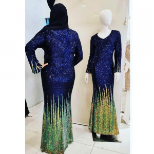 Sequin Blue Striped Dress For Rent