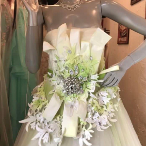 White Light Green Gown For Rent