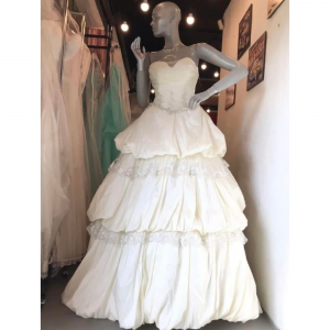 White Layered Gown For Rent